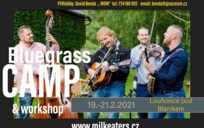 Bluegrassový Camp se skupinou Mlékojedi – 19.až 21.2.2021, Louňovice pod Blaníkem
